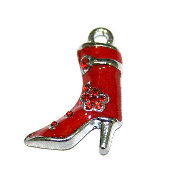 1pce x 21*18mm rhodium plated red colour high heel boot enamel charm - S.D03 - CHE1000